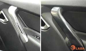 Удаление краски Уайт-спиритом с дверных ручек Лада Гранта